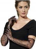 Women's Long Black Spider Web Lace Gloves Main Image