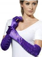Long Purple Temptress Gloves Costume Accessory