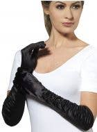 Women's Deluxe Black Satin Elbow Length Gloves With Side Ruching - Main Image
