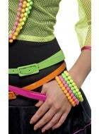 1980's Womens Beaded Rainbow Coloured Novelty Costume Bracelets