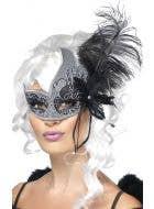 Glitzy Black and Silver Glitter Women's Masquerade Mask