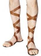 Men's Brown Roman Gladiator Costume Shoes Sandals View 1