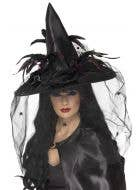 Elaborate Black Satin Feathered Witch Hat with Veil