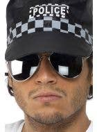 novelty mirror aviator costume sunglasses with silver frame