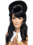 1960's Women's Black Brigitte Bouffant Beehive Costume Wig
