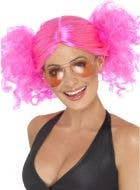 Hot Pink Women's 1980s Retro Punk Costume wig with bunches Main Image