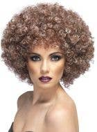 Women's Natural Brown 1970s Afro Costume Wig with Tight Curls