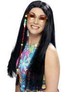 Women's Long Black Hippie Costume Wig With Beads