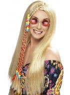 Hippie Party Women's Long Blonde Costume Wig with Braids