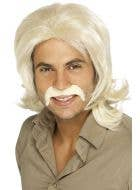 Men's Sleazy 70's Blonde Costume Wig And Moustache Set