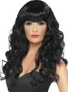 Long Curly Black Women's Costume Wig with Fringe