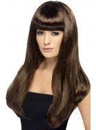 Women's Long Black Babelicious Wig with Fringe Main Image