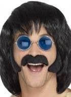Men's Black Hippie Moustache and Side Burns Facial Hair Kit