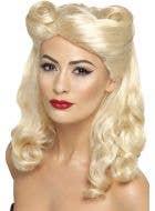 Women's Blonde 1940's Rockabilly Pin Up Costume Wig