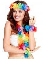 Rainbow Hula Dancer Flower Lei Accessory Set Main Image