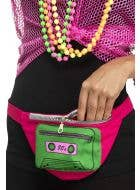 1980's Pink and Green Bum Bag 80's Dress Up Costume Accessory View 1
