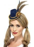 Smiffys Mini Navy and Gold Feathered Oktoberfest Women-s Costume Hat on Hair Clips - View 2