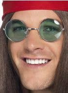 Round Green Hippie Costume Glasses Main Image
