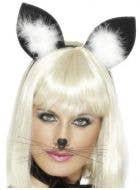 Black Felt Cat Ears Costume Headband with White Feathers