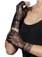 Fingerless Short Black Lace Gloves