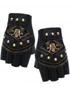 Black Bikie Fingerless Gloves with Bronze Pirate Skull