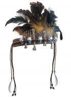 Voodoo Feather Headpiece with Skulls and Bones