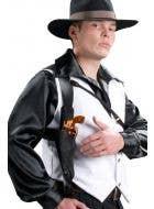 Black Vinyl Gangster Shoulder Holster with Toy Gun - Main View