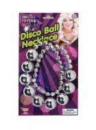 Silver Shiny Disco Ball 70s DIsco Costume Necklace - Main Image