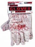 Halloween Horror White Gloves with Blood Splatter Costume Accessory