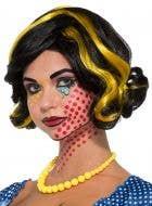 Betty Bam Black and Yellow Women's Pop Art Costume Wig