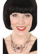 Black Spiderweb Necklace with Purple Gems Costume Accessory