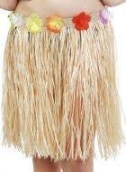 Hawaiian Straw Coloured Mid-Length Hula Skirt