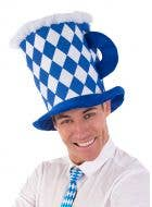 Adult's Blue and White Checkered Oktoberfest Beer Hat