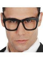 Black Square Rimmed Nerd Glasses No Lenses Costume Accessory