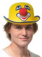 Clown Face Adult's Yellow Bowler Costume Hat
