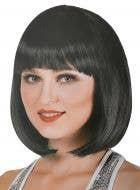 Short Black Bob Women's Costume Wig with Bangs