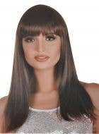 Women's Natural Brown Straight Costume Wig with Bangs