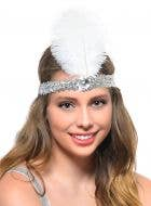 Silver Sequin Flapper Headband with White Feather Costume Accessory