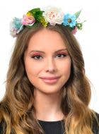 Floral Forest Fairy Costume Crown in Cream and Blue