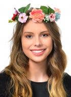 Floral Forest Fairy Costume Crown in Pink and Blue