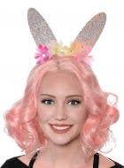 Sparkly Pink Glitter Bunny Ears on Headband