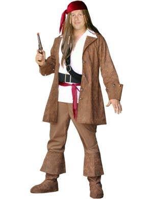 Men's Plus Size Captain Sparrow Pirate Costume Front View