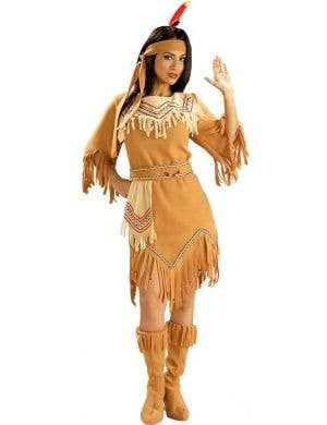 Womens Native Americia Maiden Indian Fancy Dress Costume - Main Image