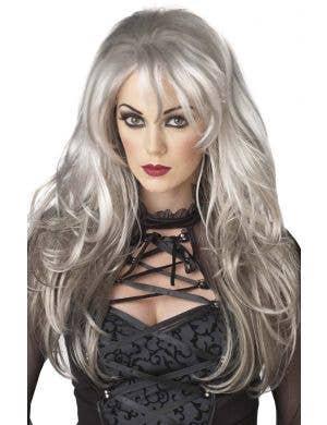 Fallen Angel Women's Long Grey Ghost Halloween Costume Wig