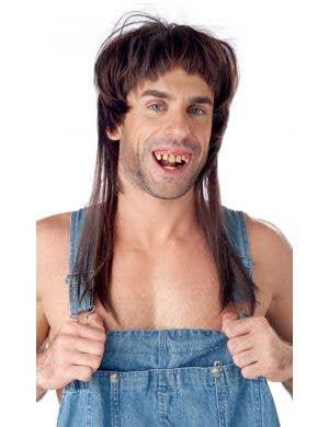 Hillbilly Hearthrob Men's Brown Mullet Costume Wig and Teeth