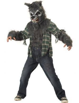 Boy's Werewolf Grey Fur Halloween Fancy Dress Costume Front
