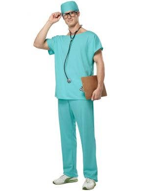 Doctor Scrubs Surgical Outfit Green Adult's Costume Main Image