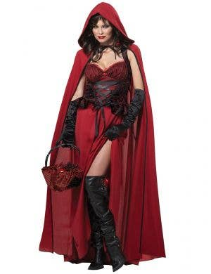 Womens Sexy Dark Red Riding Hood Halloween Costume for Adults - Main Image