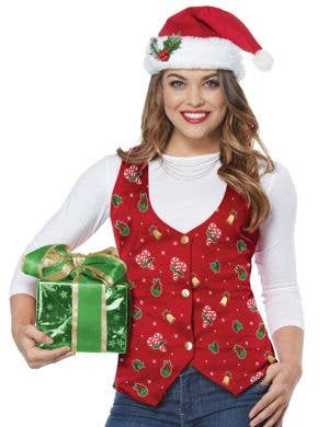 Holiday Red Women's Christmas Costume Vest and Hat