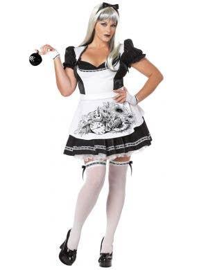 Plus Size Womens Dark Alice Black And White Halloween Fancy Dress Halloween Costume Front